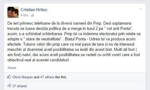 Postarea lui Cristian Hrituc