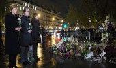 HOLLANDE si MERKEL au adus un omagiu victimelor atacurilor de la Paris in Place …
