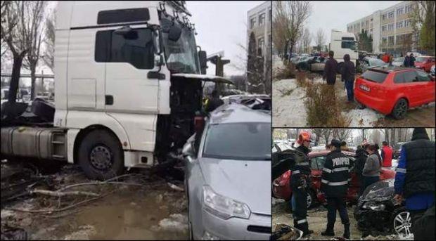 Iași. Un șofer de TIR beat a făcut praf nouă mașini dintr-o parcare