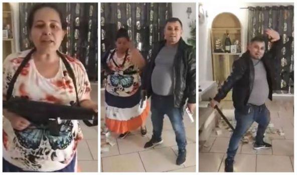 Petrecere țigănească, paradă cu pistoale și arme automate, LIVE pe Facebook! Video