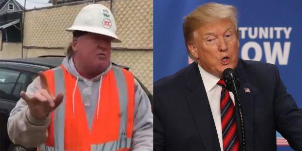 Un muncitor pe un șantier din New York îl imită la perfecție pe Donald Trump! Video