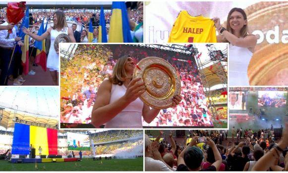 Simona Halep și-a prezentat, la Arena Națională, trofeul de la Wimbledon