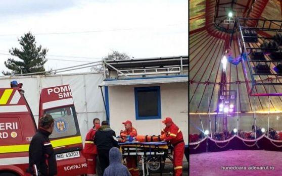 Hunedoara. Scene șocante la circ în timpul unei demonstrații. O acrobată a căzut de la patru metri! Video